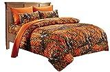 20 Lakes Alternative Down Microfiber Orange Camo Comforter - Queen/Full Size