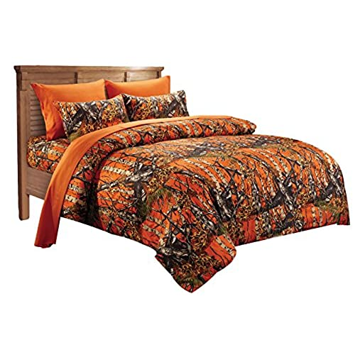 20 Lakes Super Soft Microfiber Orange Camo Comforter Spread   Twin Size