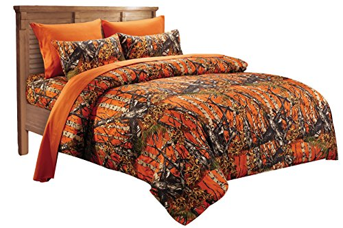 20 Lakes Alternative Down Microfiber Orange Camo Comforter - Queen/Full Size