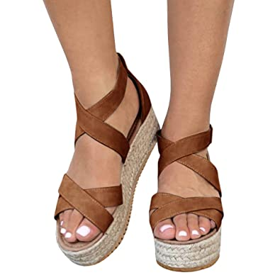 2d31ea809a6 XMWEALTHY Women s Platform Wedges Heel Sandals Summer Strappy Open Toe Espadrilles  Sandals Brown US 5.5
