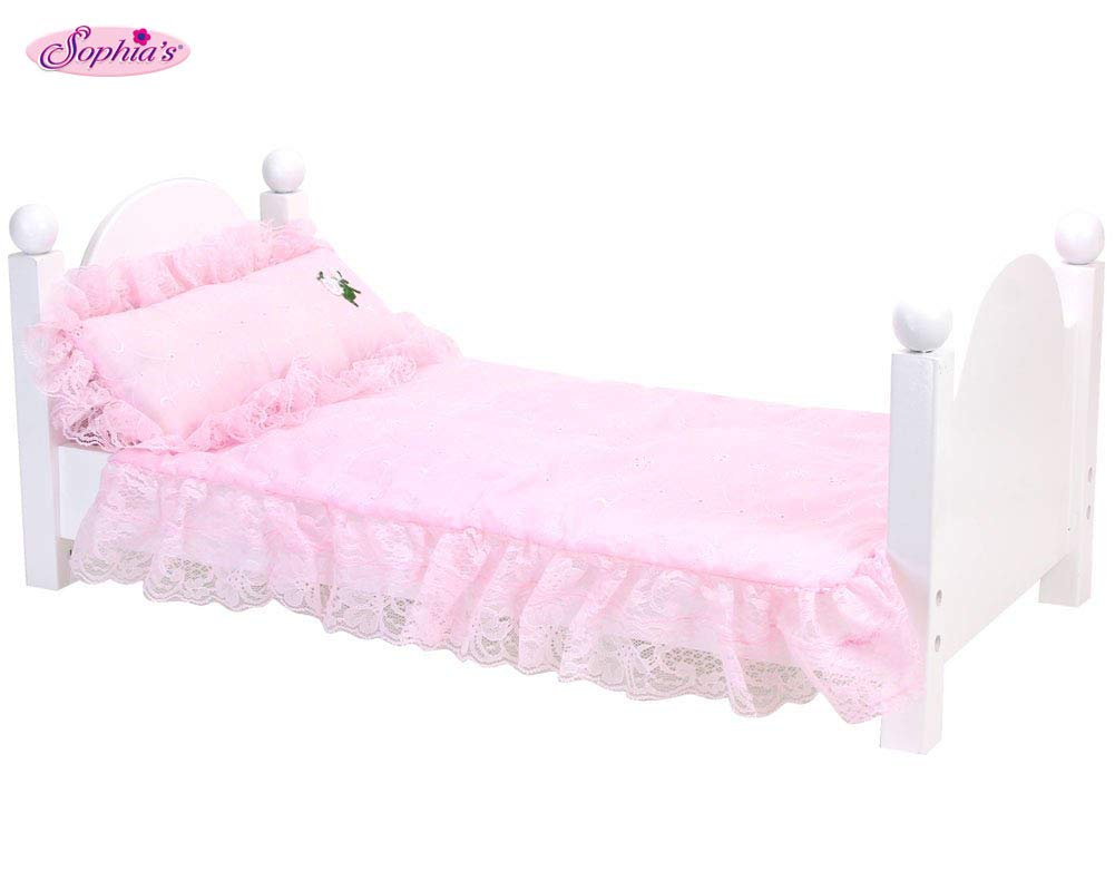 Pink Bedding Set with Doll Pillow, Comforter and Mattress Pad | Light Pink Eyelet Bedding Set for 18 in Doll Beds | Bed Not Included