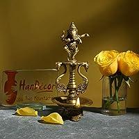 Handecor Dancing Ganesha Brass Oil Diya with Base | Home Decor |