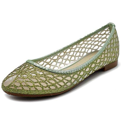 Comfort Mesh Shoe green Style2 Women's Ollio Ballet Glitter Flat qwf77I