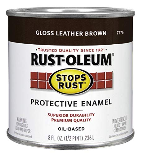 Rust-Oleum 7775730 Protective Enamel Paint, 8-Ounce, Leather Brown -