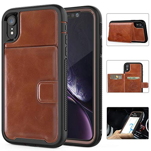 Leather Case Holder - iPhone XR Case, iPhone XR 6.1'' 2018 Shockproof Protective Wallet Case with PU Leather Card Slot Holder for Apple iPhone XR 6.1 inches (2018) [Brown+Black]