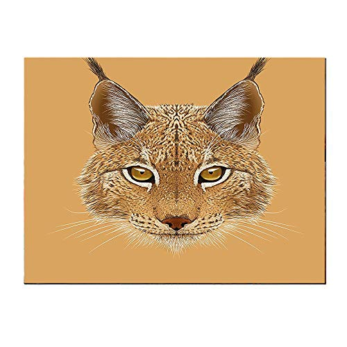 (SATVSHOP Wall Art painting-60Lx32W-Animal Lynx Cat Portrait with Sharp Ey Angry Wildlife Creature Tropical Kitty Graphic Light Brown.Self-Adhesive backplane/Detachable Modern Decorative.)