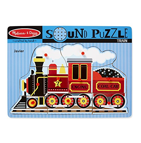 3 Piece Sound Puzzle - Melissa & Doug Personalized Train Peg Puzzle with Sound Effects (9 Piece)