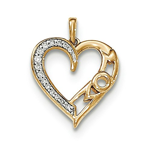 Or 14 carats-Diamant-Pendentif Coeur-JewelryWeb