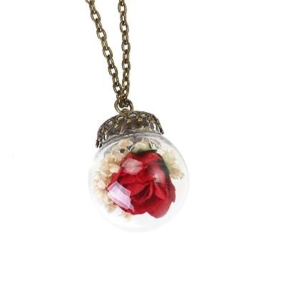 2ffeae28ff9b OULII Cosecha secado prensado rosa flor cristal bola collar colgantes (rojo)