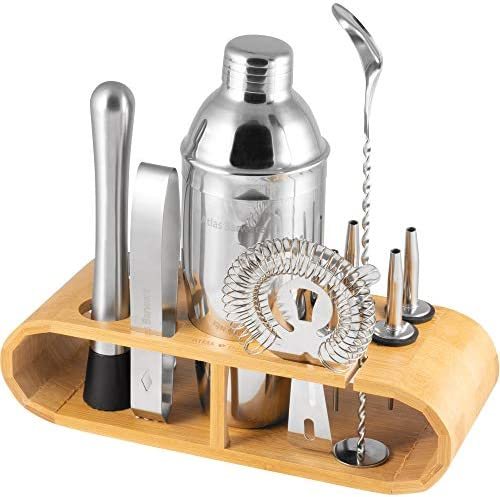 Atlas Co Bar Set 12 Piece Bar Tool Set with Beautiful Stained Bamboo Wood Stand – Ideal Set For Professional and Amateur Drink Makers Alike – With Bonus Cocktail Ebook