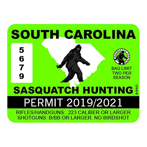 "RDW South Carolina Sasquatch Hunting Permit - Color Sticker - Decal - Die Cut - Size: 4.00"" x 3.00"""