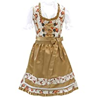 Authentic German Bavarian 3 Piece Children Dirndl Dress for Oktoberfest, Apron, Sizes 2T-12