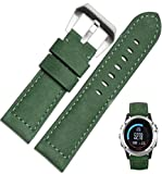 For Garmin Fenix 3 Watch, AMA(TM) Genuine Leather Watch Replacement Sports Wristbands Straps + Silver Lugs for Garmin Fenix 3 (Army Green)