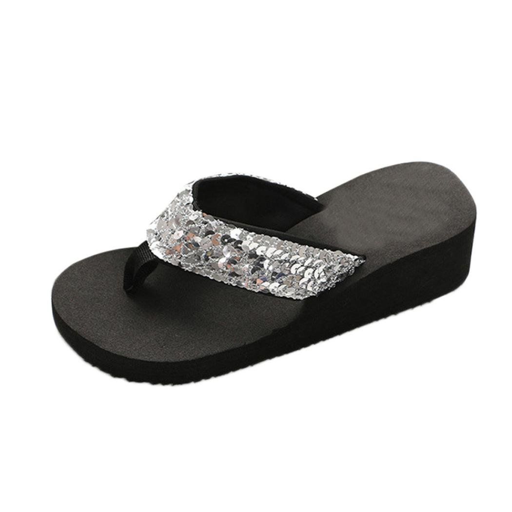 Inkach Flip Flops Sandals - Fashion Womens Sequins Summer Wedge Sandals Chunky Heeled Slippers (36(US:7), Sliver)