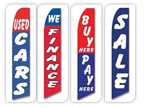 Dealer Flags - Used Cars Flag Windless Swooper 4 Lot Set Auto We Finance Buy Here Pay Here Sale