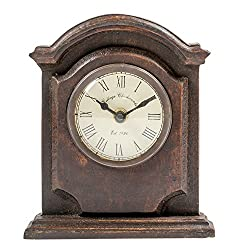 Inspired Antique Cambridge on Pedestal 6 x 7 Inch Wooden Table Top Analogue Clock