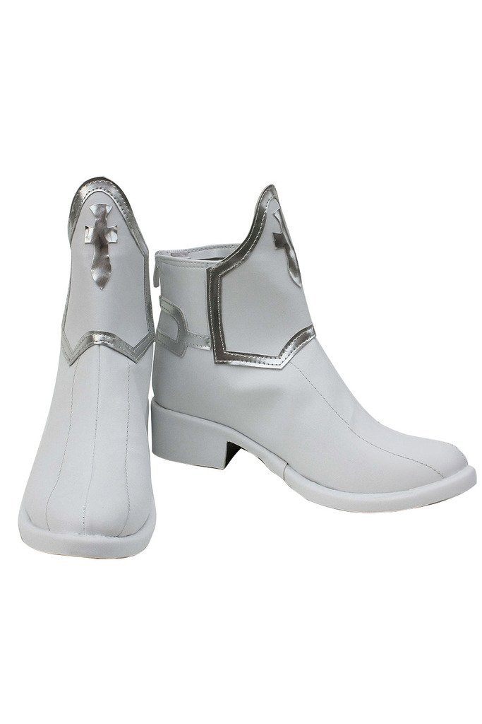 VASHOP Women's Short Boots Heeled Cosplay White Shoes