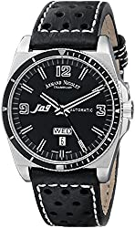 Armand Nicolet Men's 9660A-NR-P660NR2 J09 Stainless Steel Automatic Watch with Black Leather Band