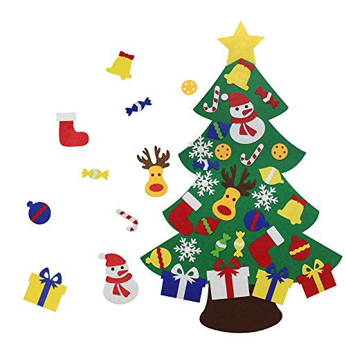 (VOCOO Felt Christmas Tree for Kids - 3Ft DIY Christmas Decorations for Wall Door Hanging,with 30 Detachable Christmas Ornaments,Perfect Christmas Gifts for)