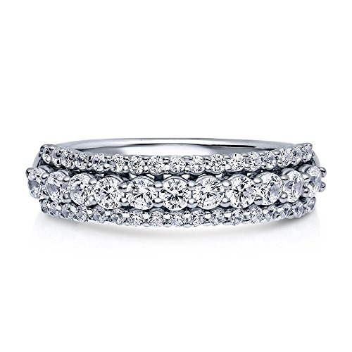Sterling Silver .925 Women's CZ 3 Row Pave Anniversary Wedding Band Ring Sz 4-10 (8)