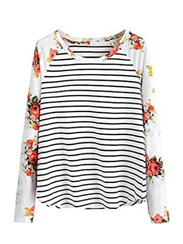 ROMWE Women's Floral Print Short Sleeve Tops Striped Casual Blouses T Shirt Floral Print M - Casual Stripe Pattern Shirts