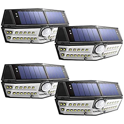 Litom Solar Lights Outdoor, 4th Generation 30 LED Solar Motion Sensor Lights with IP67 Waterproof and Wide Angle, Super Bright Security Solar Wall Light for Front Door, Backyard, Garage, Porch