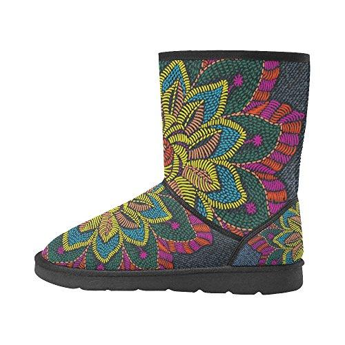 Interestprint Leinterest Flower Jeans Snow Boots Moda Scarpe Da Donna