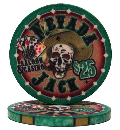 Nevada Jack Casino Grade Ceramic 10-gram Poker Chip - Pack of 50 ($25 Green)