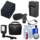 Essentials Bundle for Canon Vixia HF R70, R700, R72, R80, R800, R82 Camcorder with Case + LED Light + Microphone + BP-727 Battery & Charger + Cleaning Kit