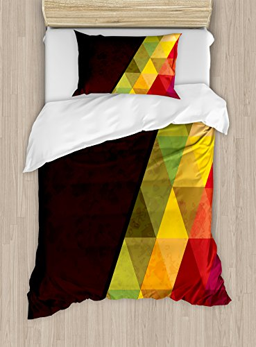 Lunarable Abstract Duvet Cover Set Twin Size, Geometrical Triangular Polygons with Aged Grungy Look Stained Glass Style Mosaic, Decorative 2 Piece Bedding Set with 1 Pillow Sham, ()
