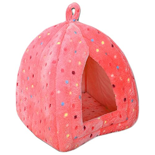 Coral Fleece Pet Bed Cozy Dog Cat Tent Lgloo (Colorful Pink)