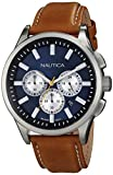 Nautica Men's N16695G NCT 17 Brushed Stainless Steel Watch with Brown Band