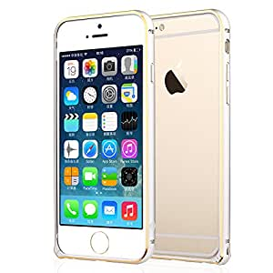 iPhone6 Case Slim Thin Metal Frame Case for iPhone 6(4.7)-Sliver with Gold frame