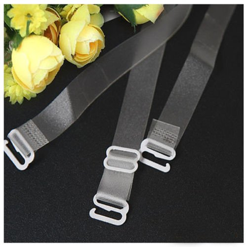 Interesting® 1.5cm Wide Bra Straps Transparent Frosted Women's Bra Straps Baldric Adjustable Intimates Accessories 1 Pair