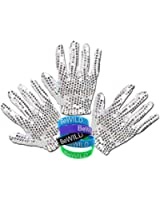 3 pack of Glitter Sequin Costume Glove (Right hand) and Bewild Brand Bracelet