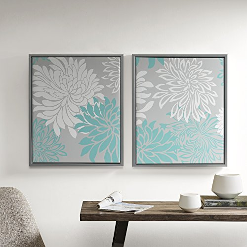 Comfort Spaces Enya Wall Art - Canvas with Silver Frame Painting Floral Modern Home Decor - 2 Piece Set Artwork, 20'' x 24'', Blue, 2 Each