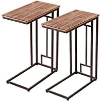 Tangkula 2 PCS 26 Solid Wood Coffee Tray Side Sofa End Table Ottoman Couch Stand TV Lap