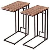 Tangkula 2 PCS 26'' Solid Wood Coffee Tray Side Sofa End Table Ottoman Couch Stand TV Lap