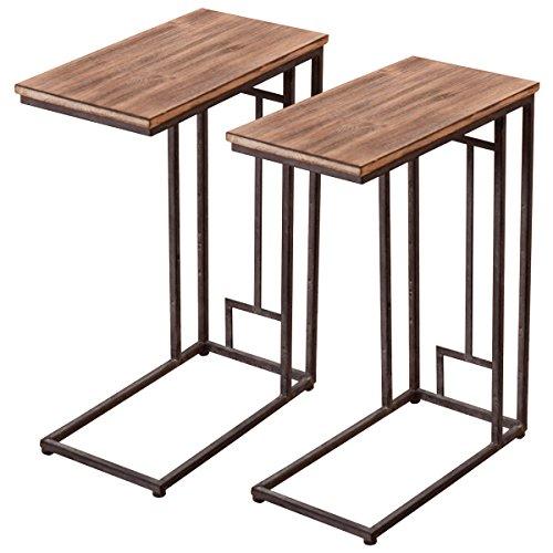 "Tangkula 2 PCS 26"" Solid Wood Coffee Tray Side Sofa End Tabl"