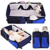 Oxford cloth + PE cotton Portable Infant Baby Bassinet Travel Foldable Beds Blue+ Gray With Ebook