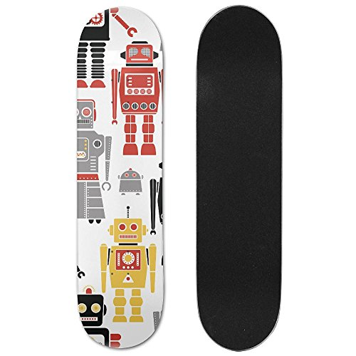 Robot Maple Fitness Skateboard Longboards Deck Print School Skateboard Long Plate Double Play Scooter Cruiser (Skateboard Robot Deck)