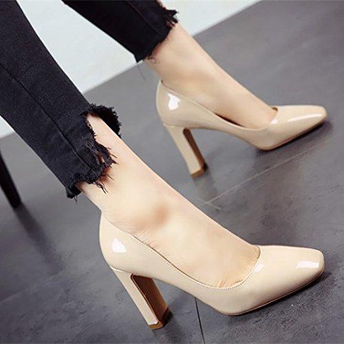sencillos zapatos FLYRCX elegantes de y a Señoras parte de Tacón patentes Zapatos q5wBS58