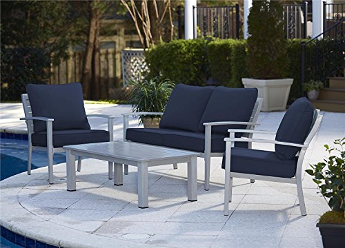 Cosco Conversation Dining Set, 4 Piece, Hand Painted Aluminum, Navy Cushions
