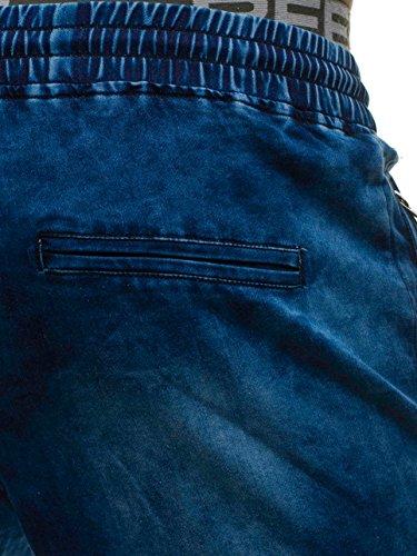 Stemma Di Jeans Da Decorativo Moda Coulisse Imitazione Blu Jogger Uomo Con Nastro Ombreggiature Bolf Stile Cerniera Sovraimpunture Della hy184 6f6 Street S4zq0xn