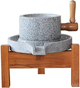 StonePlus Natural Smooth Granite Manual Food Paste Mill, Hand Crank Wet Grain Grinder with Stand (9.84x15.7in)