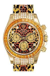 Rolex Daytona Leopard Dial and Strap Diamond and Sapphire Bezel Mens Watch 116598SE