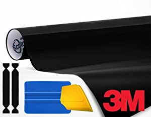 3M 1080 Black Gloss 1ft x 5ft Vinyl Car Wrap with 3M Tool Kit