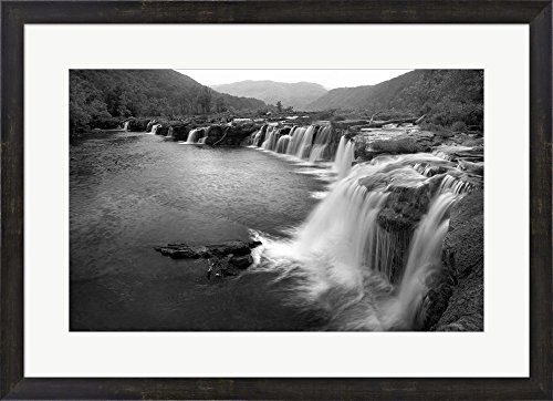 New River Falls, West Virginia by Panoramic Images Framed Art Print Wall Picture, Espresso Brown Frame, 29 x 21 inches