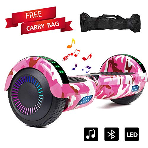 (Sea Eagle Hoverboard Self Balancing Scooter Bluetooth Speaker Hover Board for Kids Adults with UL2272 Certified, Wheels LED Lights and Portable Carrying Bag (Camo Pink))