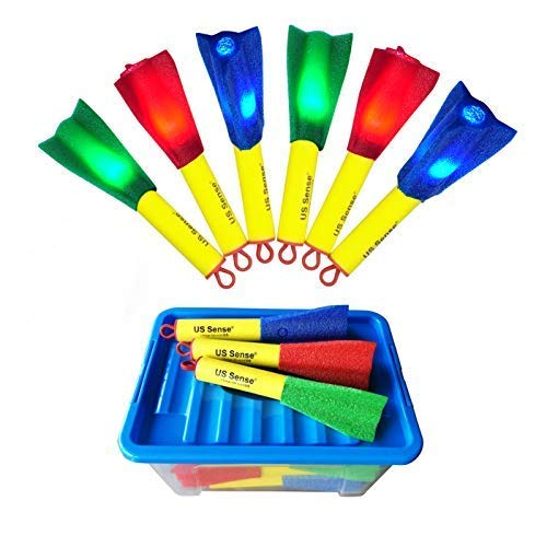 US Sense 21 Pack LED Foam Finger Rockets Slingshot Toys for Boys Girls Party Favors Gift with Storage Box,Fun Outdoor Group Camping Beach Garden Pool Games by US Sense